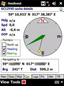 Kompassnavigering i Geoscout 2