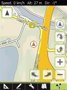 Kartvy i GPS Tuner 6 med min position markerad