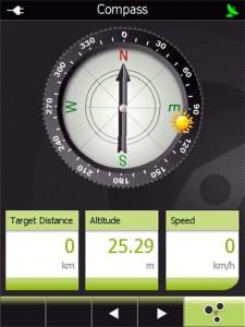Kompass och navigeringsinfo.