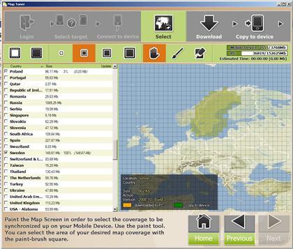 Välja ut kartdata i Map Tuner