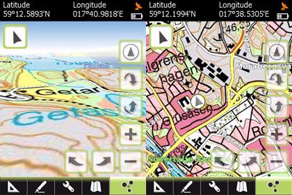 GPS TUner med Gröna kartan i 3D läge och översikt