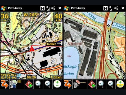 PathAway GPS 5 med olika terrängkartor